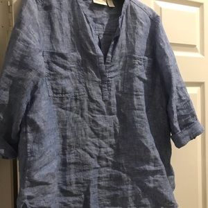 Chico's denim linen blouse size 2/large